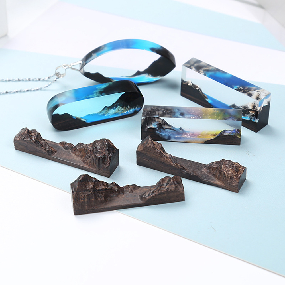 DIY Crystal Epoxy Jewelry Mould Couples Gifts Mountain Peaks Landscape Solid Wood Bracelet Pendant Silicone Mold