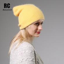2020 nowy zimowy kapelusz dla kobiet królik kaszmirowy, dzianinowy czapki grube ciepłe panie wełny Angora kapelusz kobiet czapki Beanie kobiety dzianiny