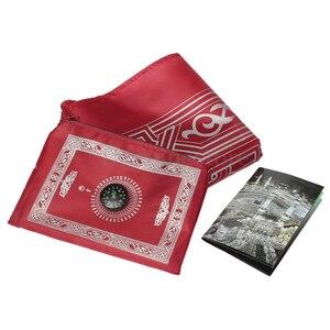 Image 2 - Nowy muzułmański przenośny dywan modlitewny Mat pleciony maty po prostu drukuj z kompasem muzułmański dywanik do modlitwy dywan modlitewny dla dzieci mata do domu koc 100x60cm
