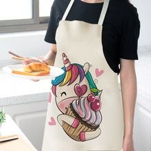 1pcs/lot Cartoon unicorn 68x55cm apron men and women household sleeveless cotton linen apron baking kitchen cooking accessories