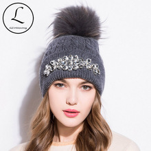 GZHILOVINGL Flower Womens Hats With Pom pom Winter Thick Knitted Hats Big Rhinestone Warm Wool Cross Striped Cap Gorros 61122