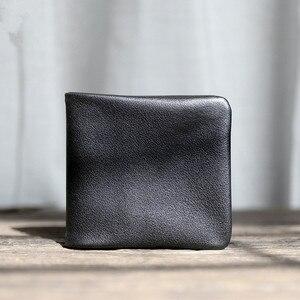 Image 4 - Pndme carteira masculina de couro legítimo, carteira masculina compacta feita em couro legítimo, macia e casual, simples, para jovens, feita em couro de vaca bolsa de mão
