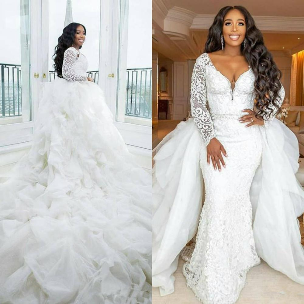 2019 African Sexy Long Sleeves Mermaid Wedding Dresses With Detachable Train Lace Appliqued Beaded Plus Size Bridal Gowns