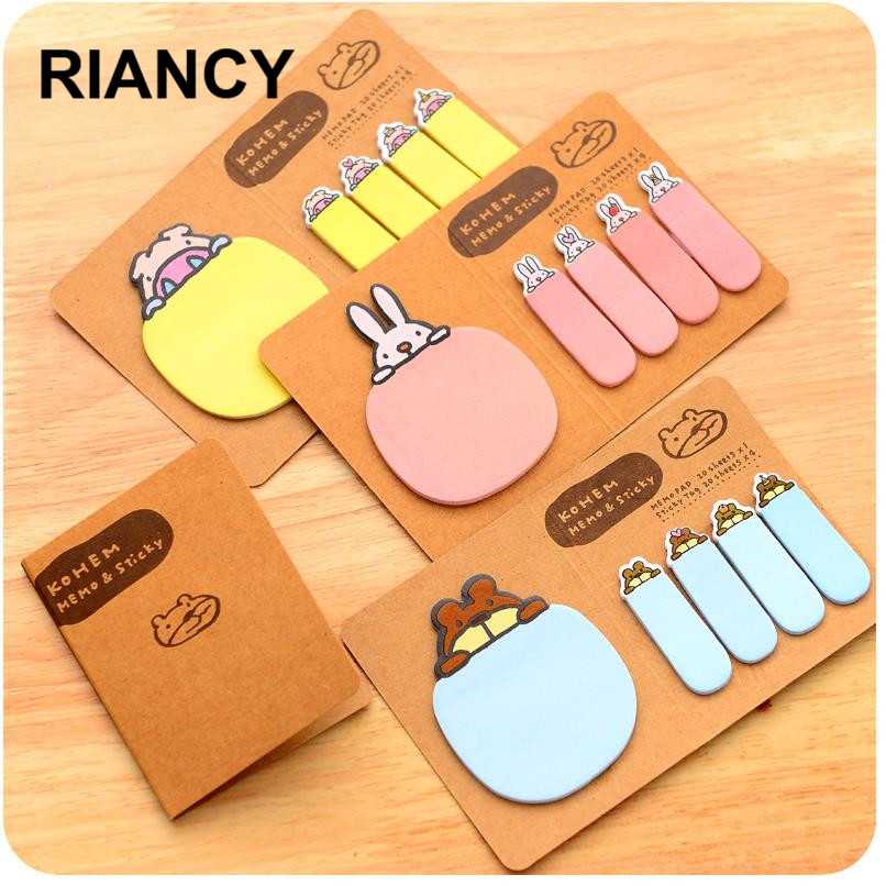 1pcs/Lot Kraft Sticky Tag Stickers Planner Kawaii Sticky Notes Stationery Planner Stickers Memo Pad Cute Papeleria Notepad 01944