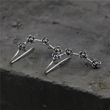 Fyla Mode S925 Pure Silver Jewelry Luxury Vintage Antique Four Flowers Pendants Drop Dangle Earrings For Women 4.50mm
