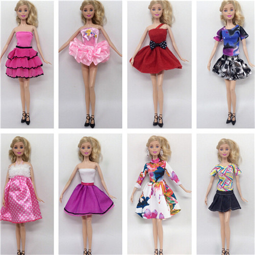 8 шт./лот, лидер продаж, модные комплекты одежды для кукол, одежда, Повседневные Вечерние костюмы для куклы Барби, лучший подарок, детская игр...