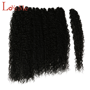 LOVE ME Afro Kinky Curly Hair Bundles 7pcs/pack 22-26inch Ombre Nature Black Color Synthetic Hair Weave Bundles Curly Hair