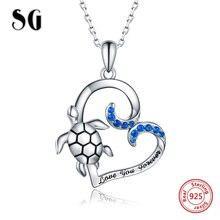 SG bandent مجوهرات قلادة نسائية 925 فضة القلب قلادة القلائد مع السلاحف موضة مجوهرات الحفلات 2019 جديد وصول