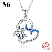 SG pandent necklace women jewelry 925 sterling silver Heart pandent necklaces with Turtle Fashion Party jewelry 2019 NEW arrive