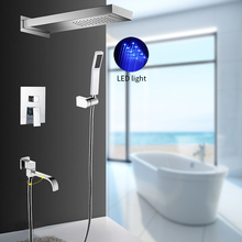 1set Rainfall LED Light Shower Faucet Set Wall Mouted Tap Mixer Top Shower Head Hand Shower Bottom Spout Bathroom Shower System цена 2017