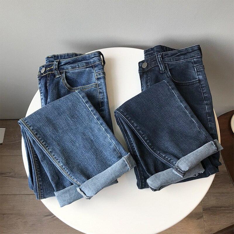 Mooirue Vintage Women Jeans High Waist Slim Blue Black Elastic Gold Stripes Denim Pants For Autumn Winter