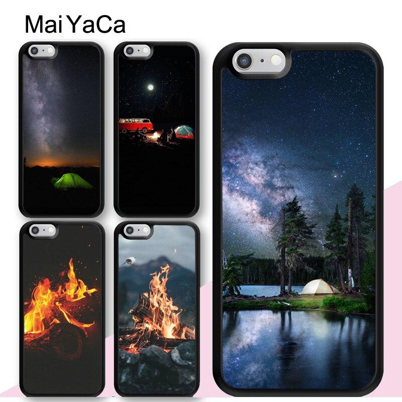 Maiyaca noite acampamento caso fogo para o iphone xr x xs max 11 pro max se 2020 6s 7 8 plus 5S voltar capa de habitação celular