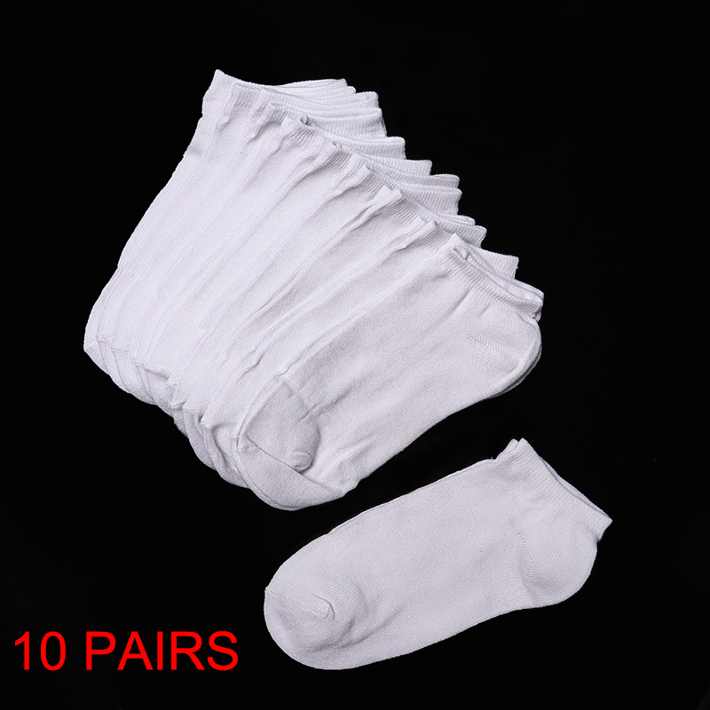10 Pairs Women Socks Breathable Socks Solid Color Boat Socks Comfortable Cotton Ankle Socks White Black Gray
