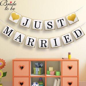 Panna młoda, aby być flaga po prostu żonaty w stylu Vintage papieru Banner białe złoto ślub Garland trznadel romantyczna strona dekoracji dla przyszłej panny młodej