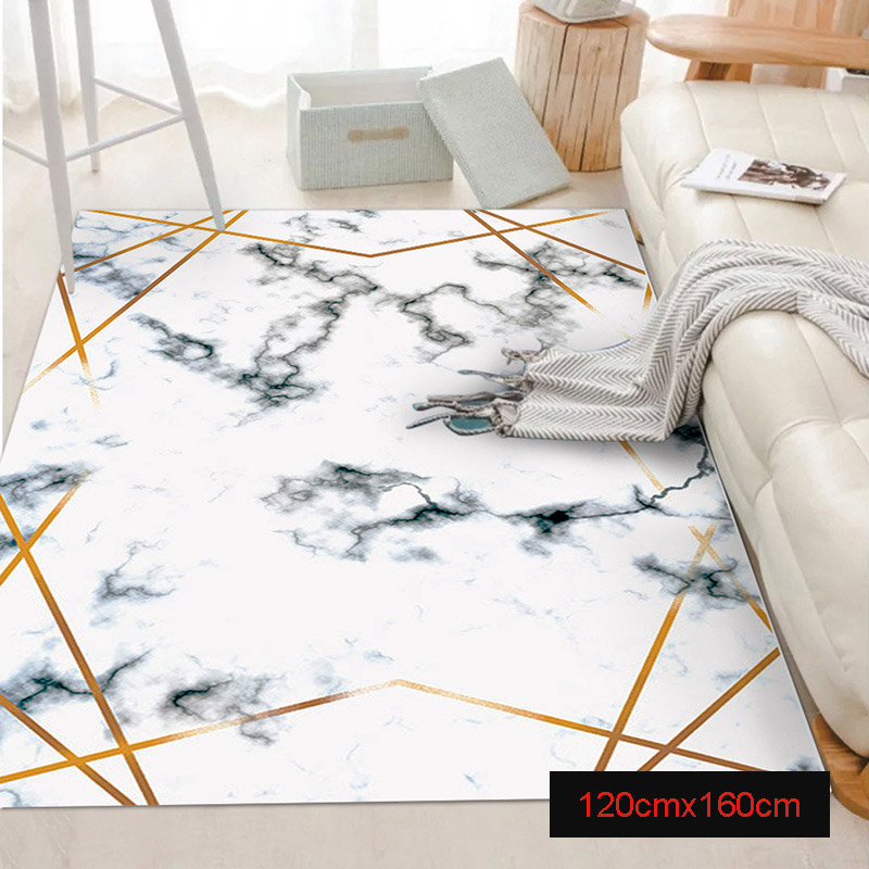 Tapis marbre doré lignes géométriques marbrure décor à la maison tapis de sol tapis PI669