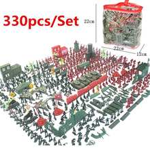 290pcs/330 pçs/set Militar Homens Do Exército Do Brinquedo Figuras Playset Kit Modelo de Plástico & Acessórios de Decoração Dom Brinquedos Modelo Para As Crianças