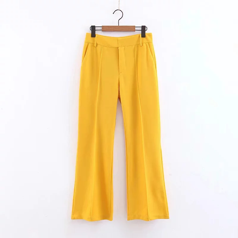 JXYSY Za 2019 Women Blazer Pockets Single Button Yellow Long Sleeve Office Wear Coat Solid Female Casual Outerwear Chic Tops