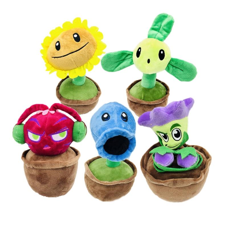 20-23cm Plants Vs Zombies Plush PVZ Flower Potting Plants Stuffed Toys Plants Plush Toys Doll Gifts For Kids Children Present