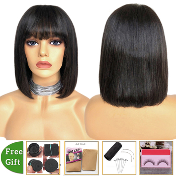LEVITA brazilian straight human hair wigs pixie cut bob wig With Bangs short human hair wigs for women machine made Non-Remy wig with bangs short bob wig brazilian straight human hair wigs with bangs pixie cut wig for black women natural color remy hair