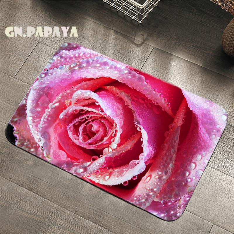Nordic fresh Style flower Carpet bohemian Bathroom Floor Mats Toilet Rugs Kitchen Area Rug rose flower Pad Absorbent Door Mat