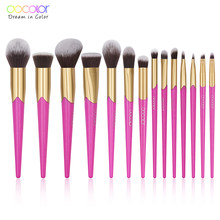 Docolor 14Pcs Makeup Brushes Set Powder Foundation Eyeshadow Blending Make Up Brushes Synthetic Hair Special price for 11.29(China)
