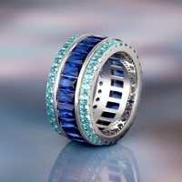 DNSCHIC S925 Silver Ring Shinny One Row Tennis T Square Ring for Men and Women Hip Hop Zircon Ring Blue Stone Hip Hop Jewelry