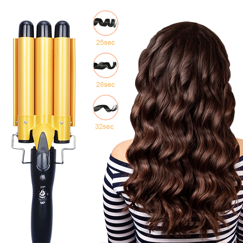 Professional Curling Iron Ceramic Triple Barrel Hair Styler Hair Styling Tools 110-240V Hair Curler Deep Waves Electric Curling