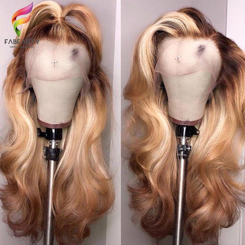 Ombre loira frente do laço peruca de cabelo humano 150% brasileiro ondulado 13*4 perucas do laço pré arrancadas 4/27 mel loira peruca remy