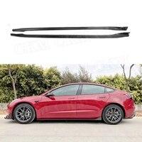 Dry Carbon fiber Side Skirts for Tesla Model 3 2018 2019 2020 Side Bumper Extension Aprons Car Styling
