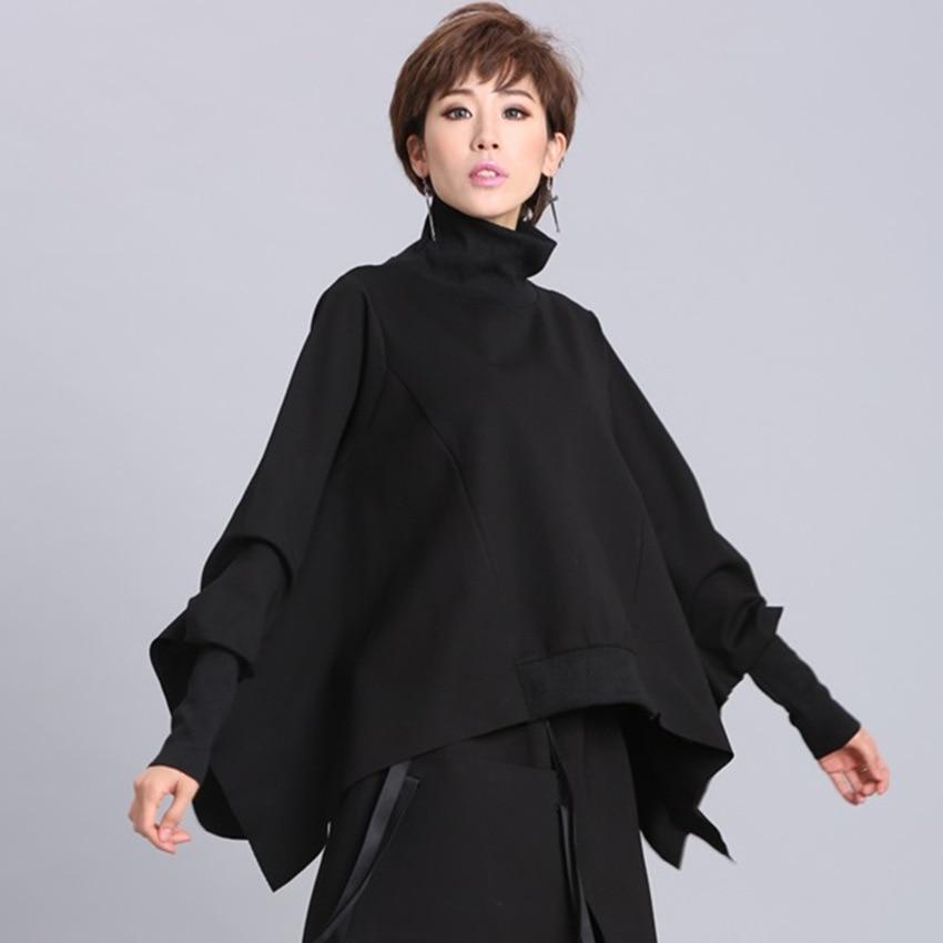 H6a5964428f5e4e39ad339f7fd4b4bbf4I [EAM] 2019 New Spring Black Full Batwing Sleeve Turtleneck Collar Pullover Loose Irregular Women Fashion Tide Coat OA869