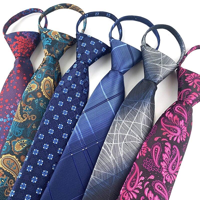 Royal Blue Necktie Zipper Lazy Tie Fashion 7cm Paisley Flower Ties Business For Man Gravatas Handkerchief Bowtie Mens Wedding