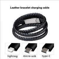 Bracelet en cuir chargeur câble type-c USB Bracelet chargeur données câble de charge cordon de synchronisation pour IPhone 7 8 Android téléphone câble cadeau