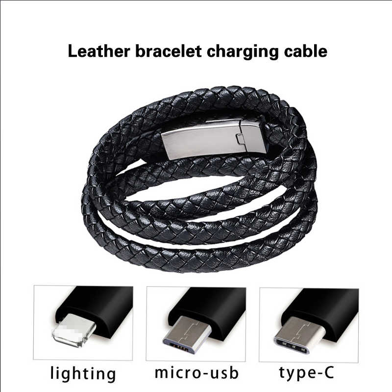 Leather Bracelet Charger Cable Type-C USB Bracelet Charger Data Charging Cable Sync Cord for IPhone 7 8 Android Phone Cable Gift