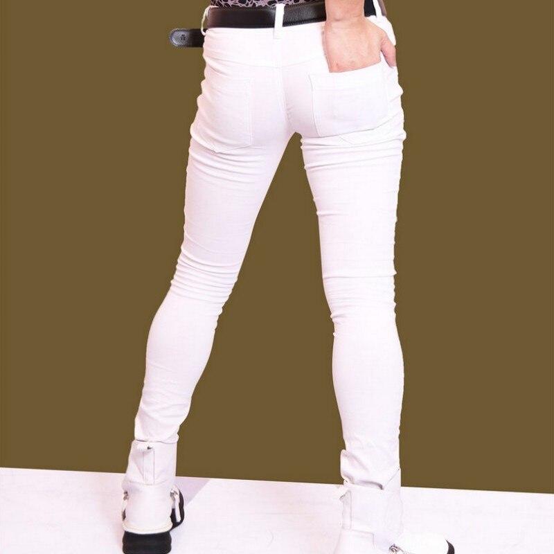 Mens Skinny Jeans Pencil Pants Slim Fit Long Trousers Casual Denim Streetwear Pants White Punk Style Cowboy Leggings Plus Size