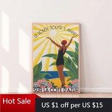 Affiche de voyage Vintage imprimé Sur La côte d 'azur, décor de salle, peinture Sur toile artistique, broderie de rivière française, décor mural de maison