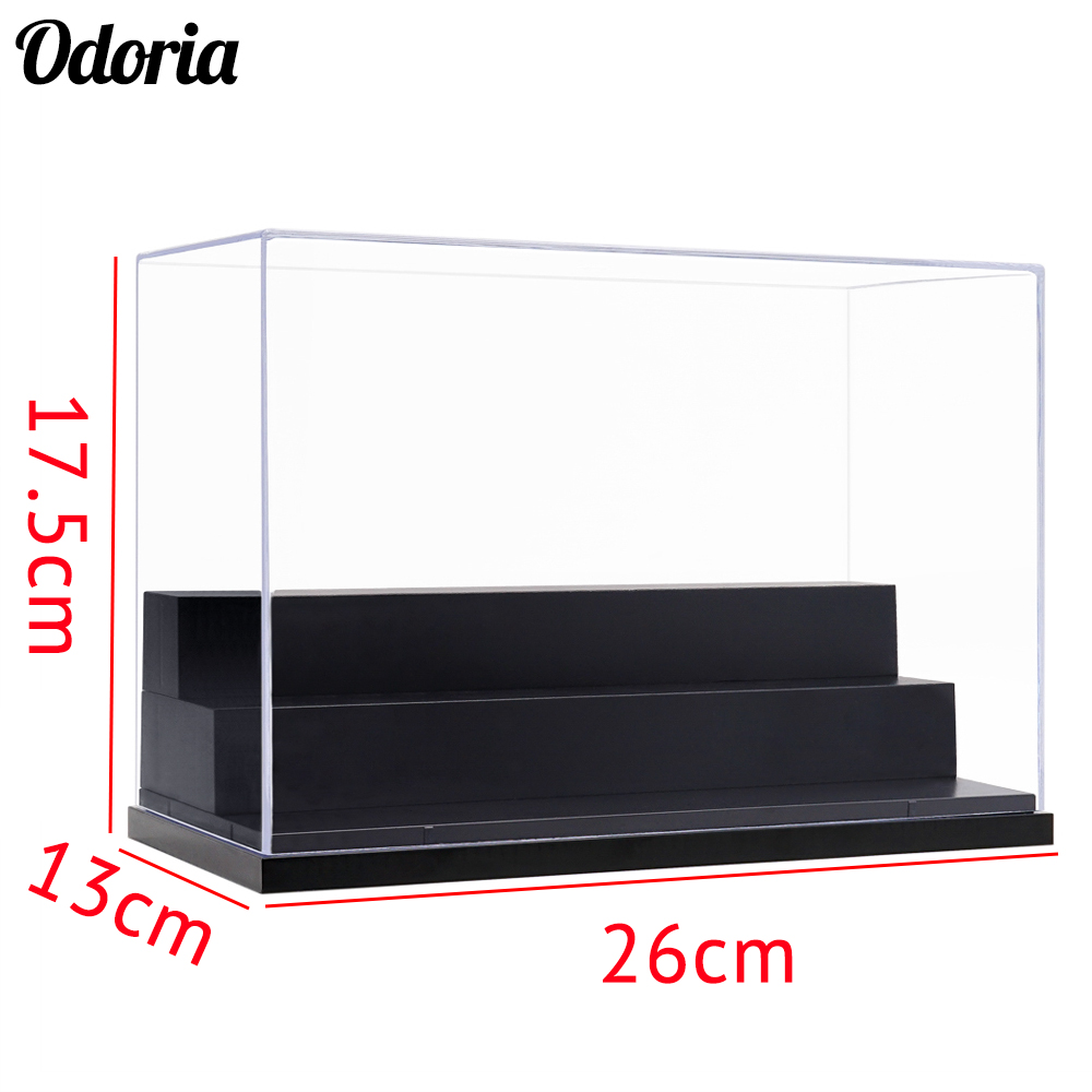 """Acrylic Display Case 9.8/""""L Clear UV Plastic Box Dustproof Toys Protection 4 Step"""
