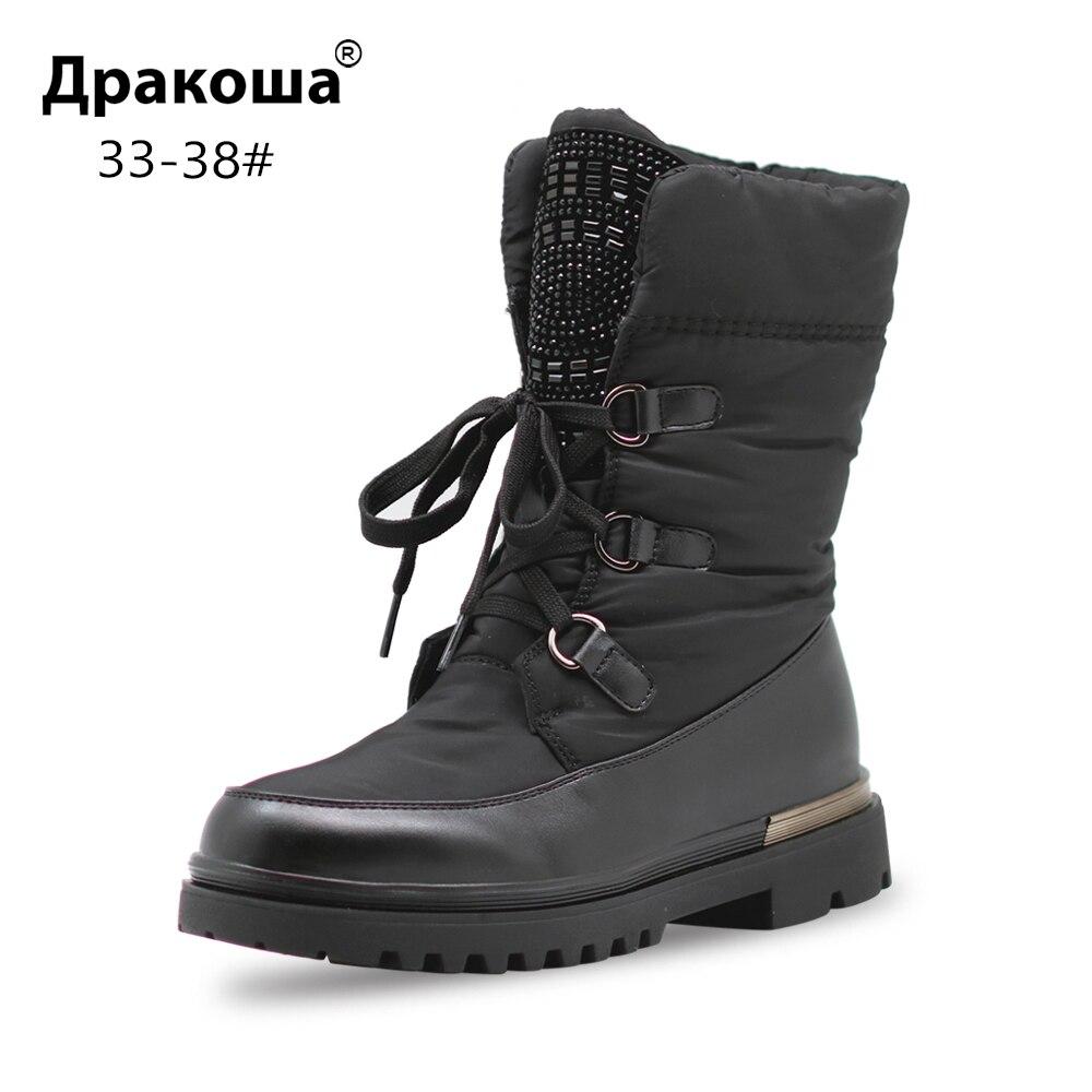 Apakowa Children Snow Boots Little Girls Fashion Black Waterproof Mid-Calf Zipper up Teenager Warm Fur Knee-High Winter Boots