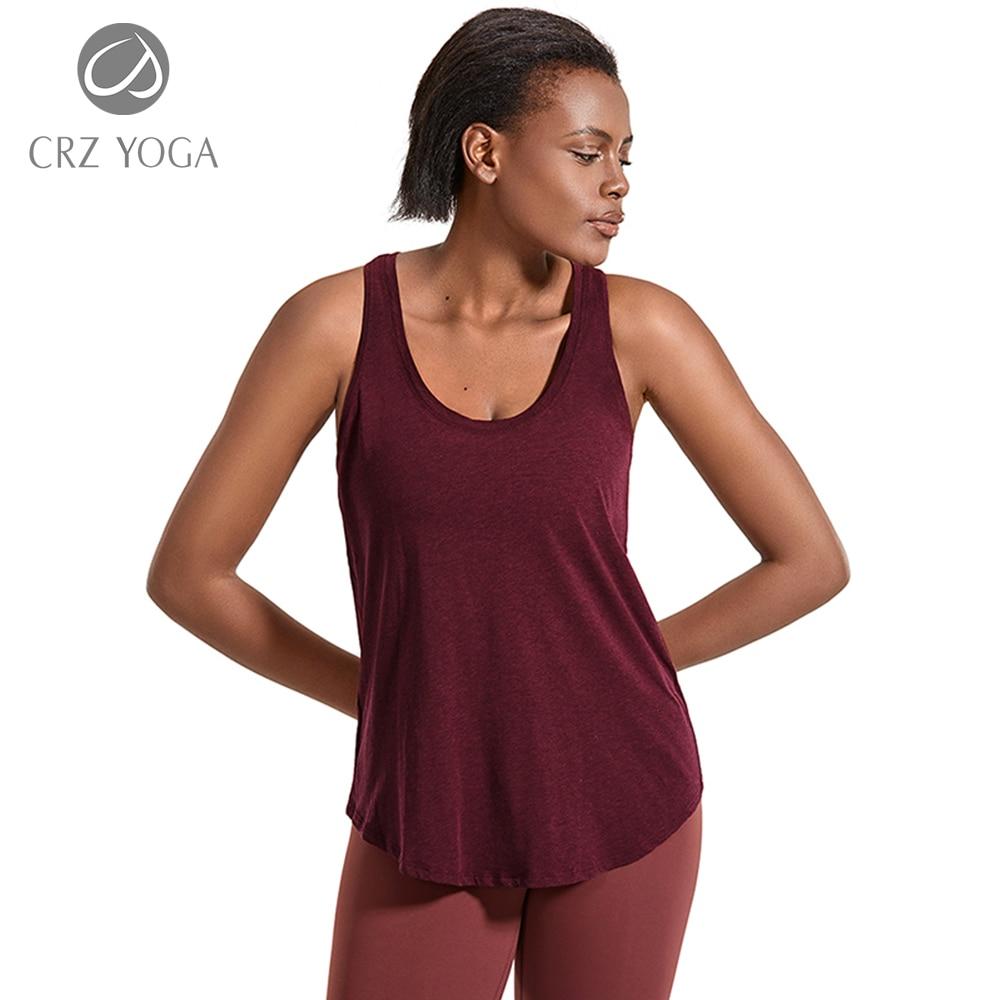 CRZ YOGA Women's Lightweight Pima Cotton Workout Tank Tops-Soft Racerback Athletic Yoga Tanks