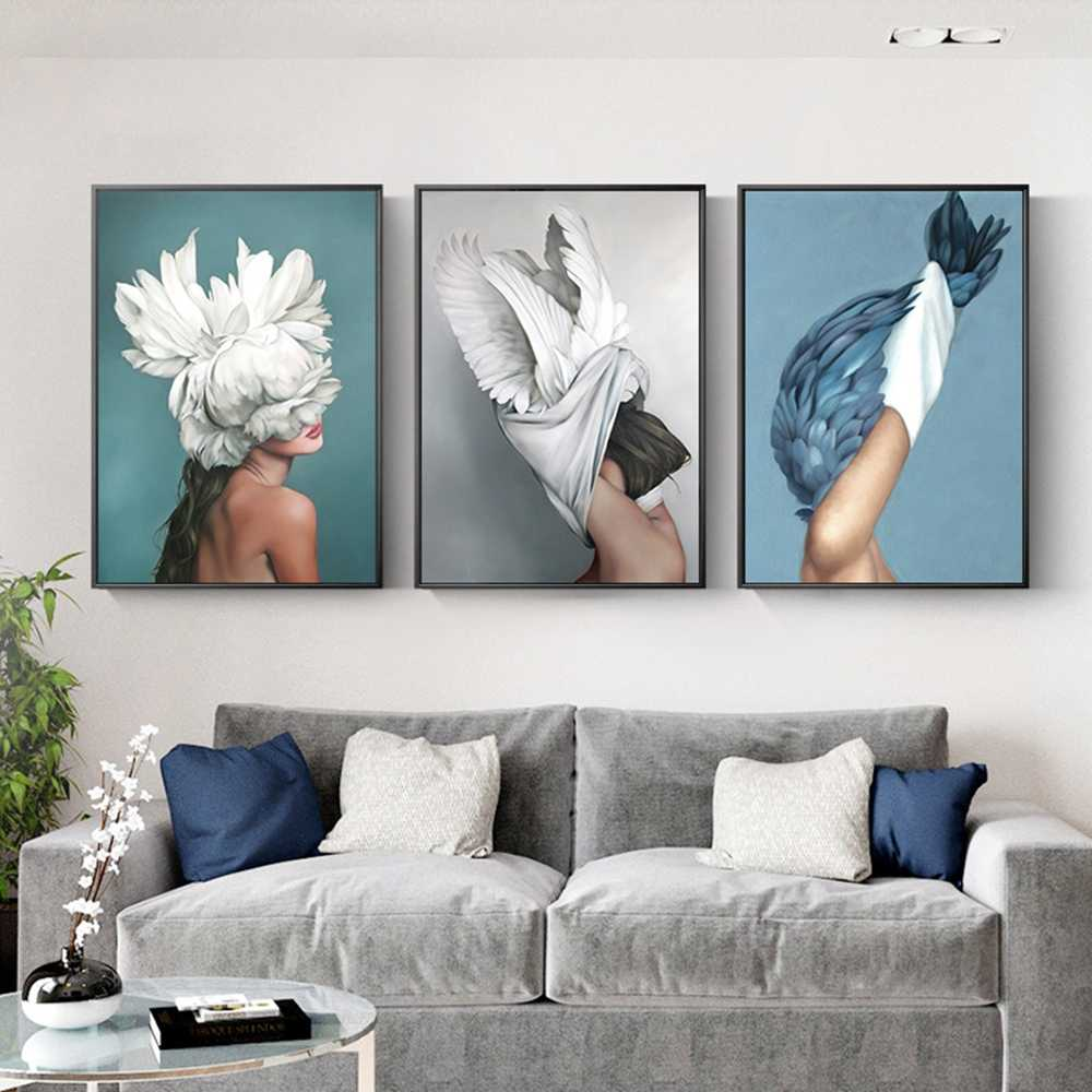 Nordic Flower Beauty Head Flower Feather Woman Art Wall Canvas Painting Posters And Prints Wall Pictures For Living Room Decor