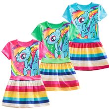 Детское Хлопковое платье в полоску с рисунком единорога, летнее платье принцессы для девочек