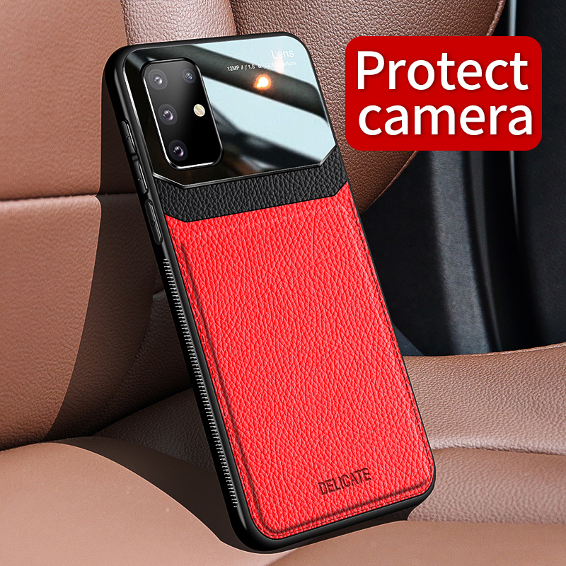 PC Grained Leather Skin-pattern Retro Bumper Back Phone Case for Samsung S20 Plus 1