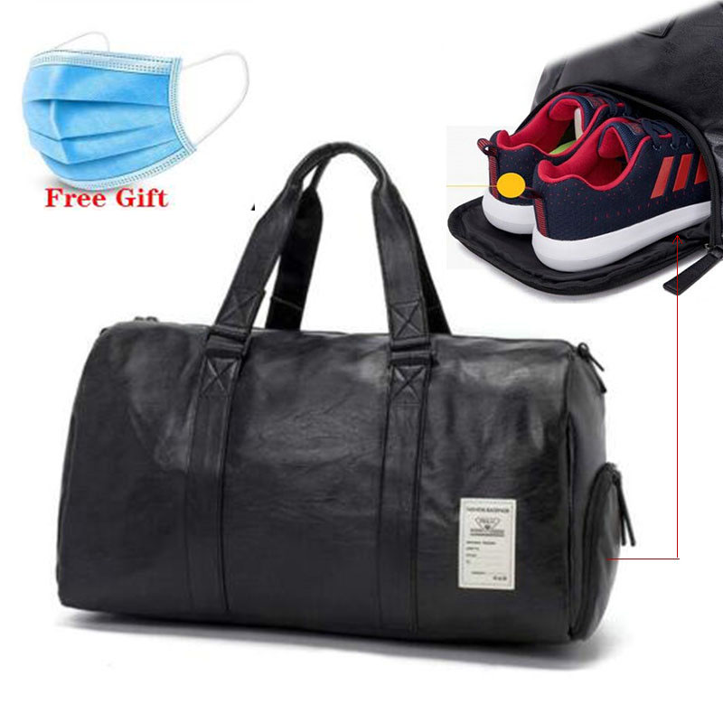 PU Waterproof Gym Sports Bag Mens Travel Storage Bag Organizer Women Black Leather Fitness Shoulder Bags Outdoor Training Bags