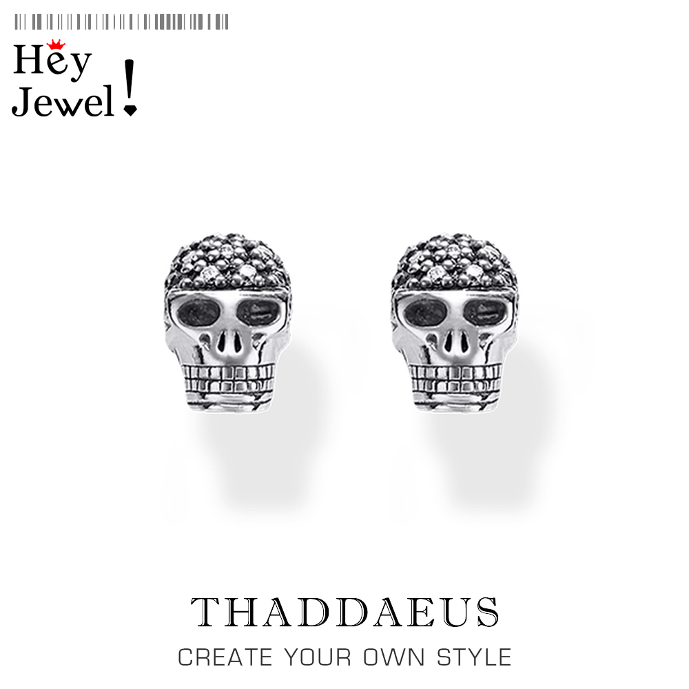 Blackened Skull Stud Earrings,Thomas Vintage Fashion Good Jewerly For Women Men,2019 Autumn Ts Gift In 925 Sterling Silver