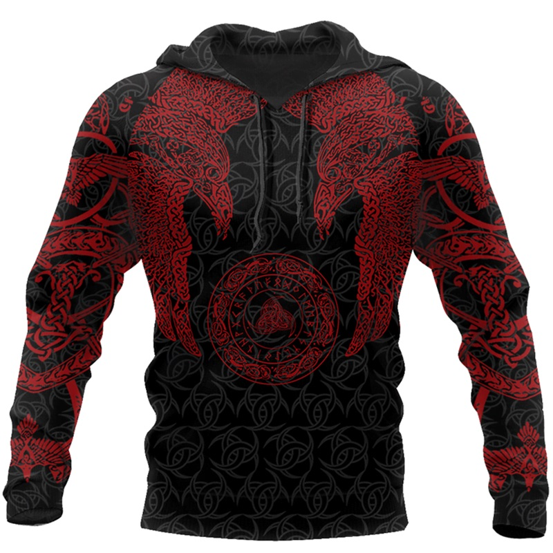 Drop Shipping Viking Munin - Tattoo Style Hoodie Harajuku Fashion Hooded Sweatshirt Autumn Unisex Hoodie Sudadera Hombre