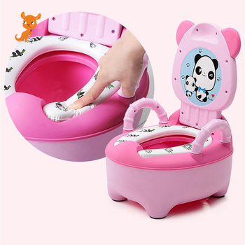 New Portable Baby Potty Toilet Seat Cute Cartoon Panda Soft Kids Potty Training Seat Children's Folding Backrest Pot Toilet cartoon baby boy girls folding toddler potty toilet trainer saf