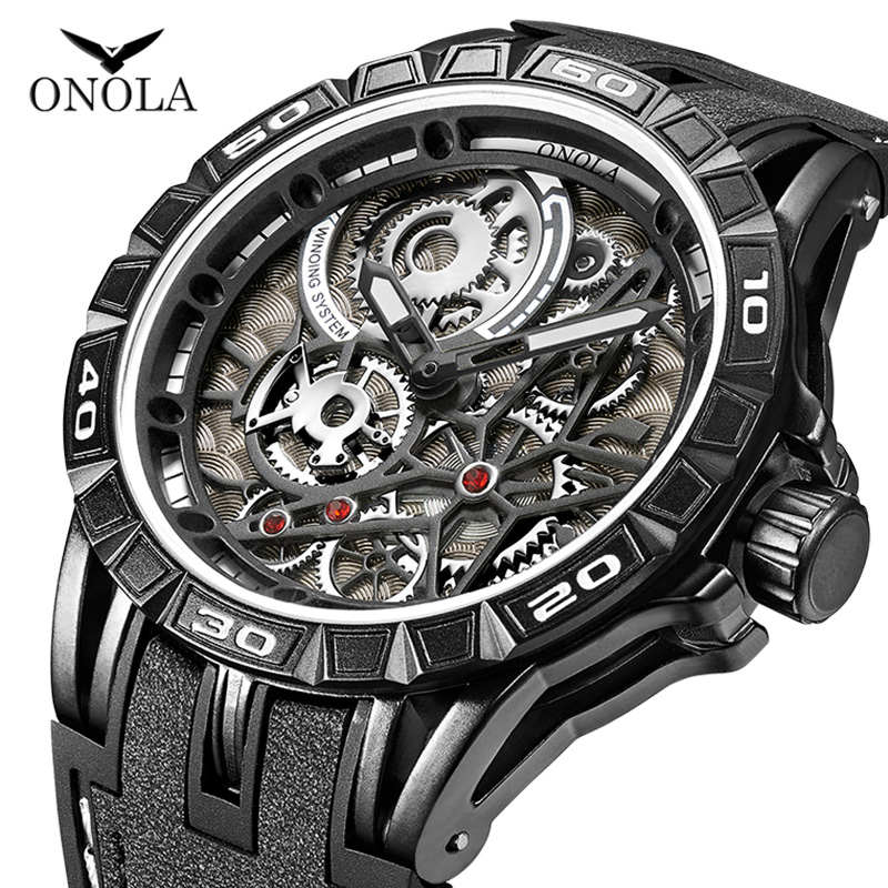 ONOLA Brand Cool Quartz Watch Male Fashion Casual Sport Unique Dial Mens Watch Japan Movement Military All Black Watch Young Man