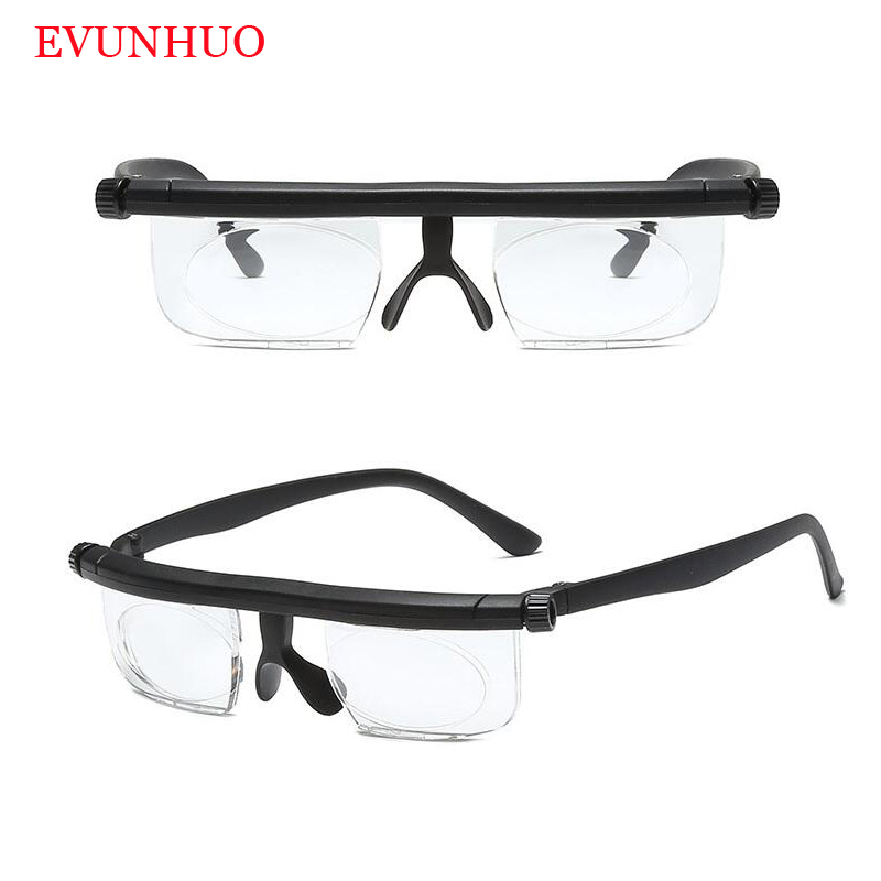 Double Vision Focus Adjustable TR90 Reading Glasses Myopia Eye Glasses -6D To +3D Variable Lens Correction Binocular Magnifying