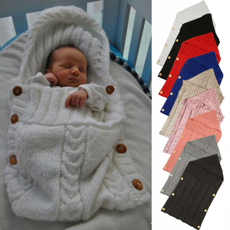 Newborn Infant Baby Blanket Knit Button Crochet Winter Warm Swaddle Wrap Sleeping Bags