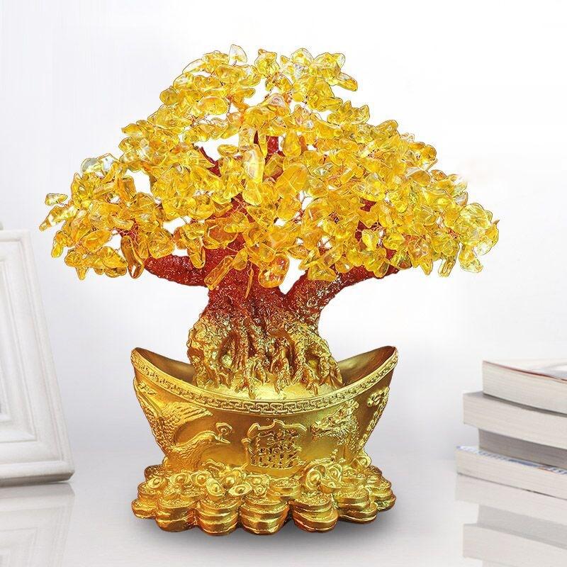 Yuanbao árvore ouro lingote ornamento árvore dinheiro ornamento árvore fortuna ornamento sala de estar artesanato casamento cristal desktop hotel
