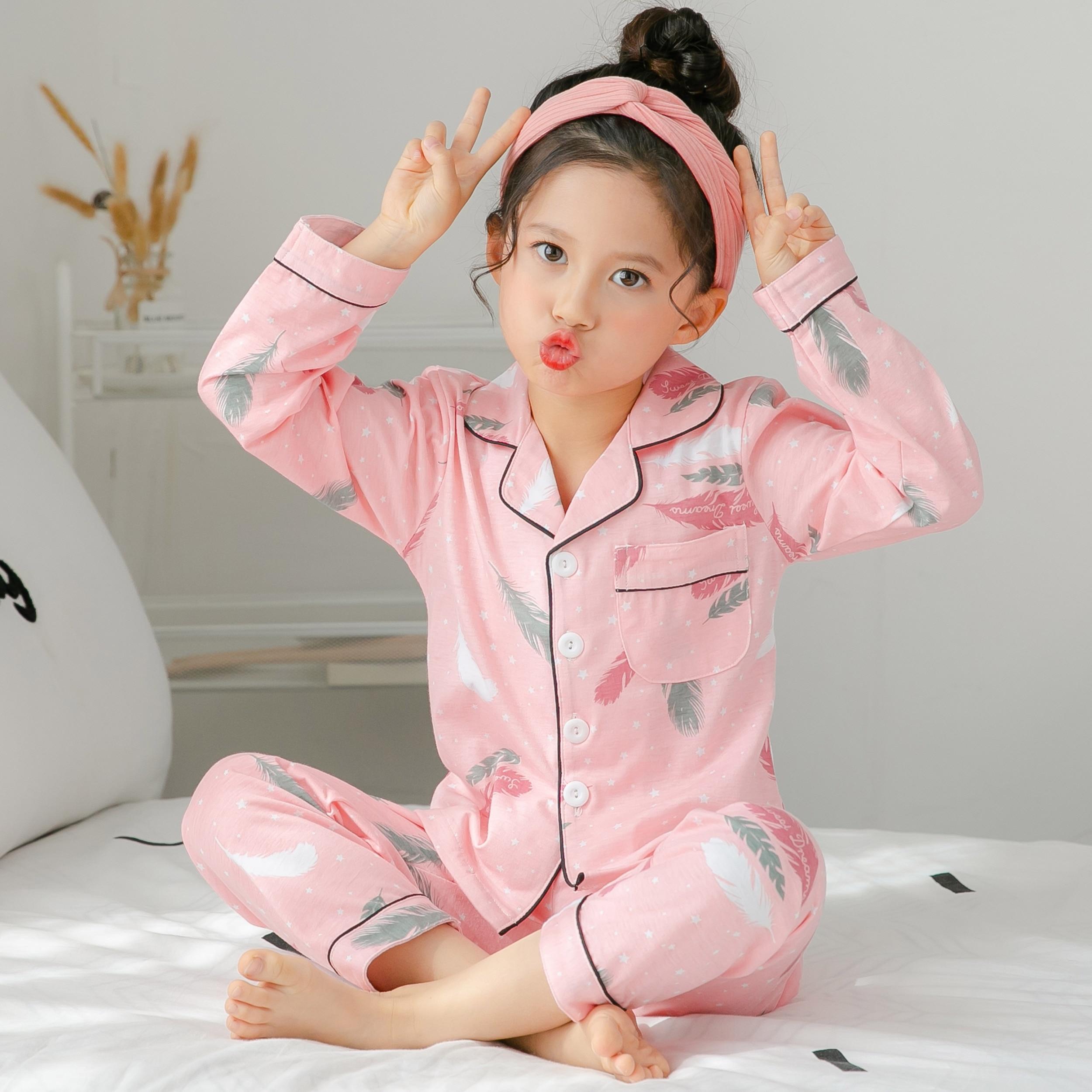2019 детские пижамы на осень и весну, хлопковый Детский костюм для сна с длинными рукавами, милая домашняя одежда для девочек, рождественские пижамы для малышей